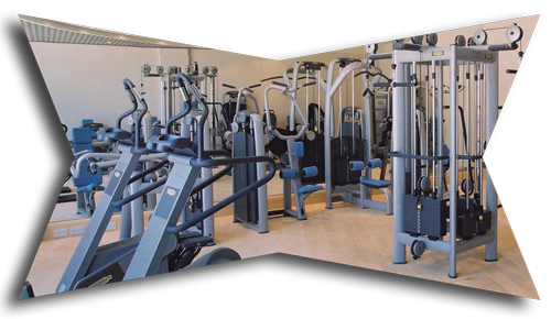 Weightlifting and fitness machines in gym